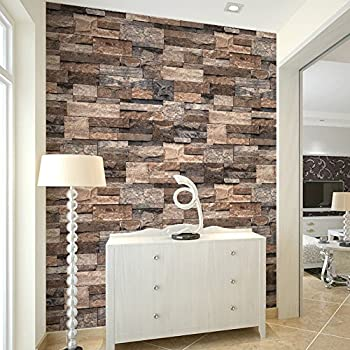 HaokHome 3302 Vintage Faux Stone Wallpaper Rolls Tan/Brown/Grey Brick  Stacked Photo Paper