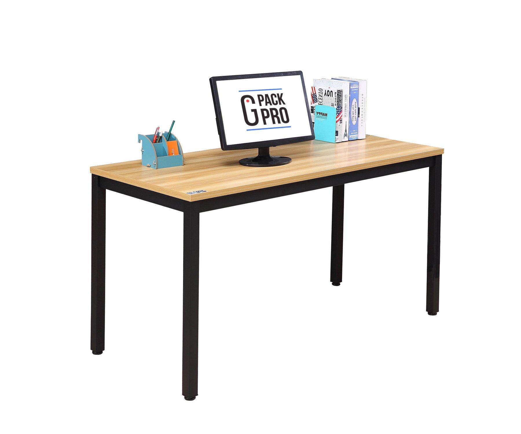G-Pack Pro Computer Desk 55'' Large Size Office Desk Workstation for Home & Office Use, Light Walnut (GPPTBL)