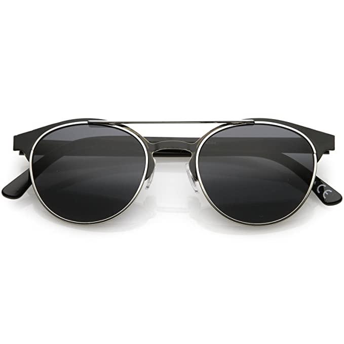 d2196ce00 sunglassLA - Modern Horned Rim Sunglasses Double Crossbar Thick Arms Round  Neutral Color Lens (Black