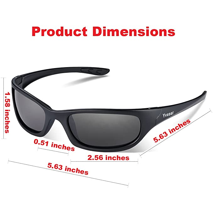 defec042780d Yveser Polarised UV400 Sports Sunglasses for Men   Women - Baseball Running  Cycling Fishing Driving Hiking Ski Golf Yv148 (Black Lens Black Matte  Frame)  ...
