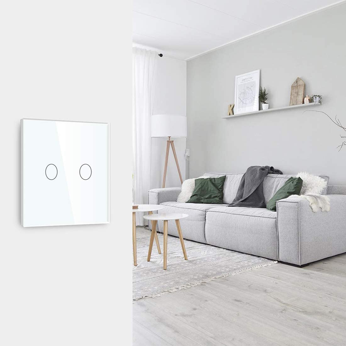 Adaptador Led requerido BSEED Interruptor regulador de luz 1 Gang 1 Way LED Dimmer Switch Interruptor de luz con pantalla t/áctil interruptor t/áctil de pared Negro