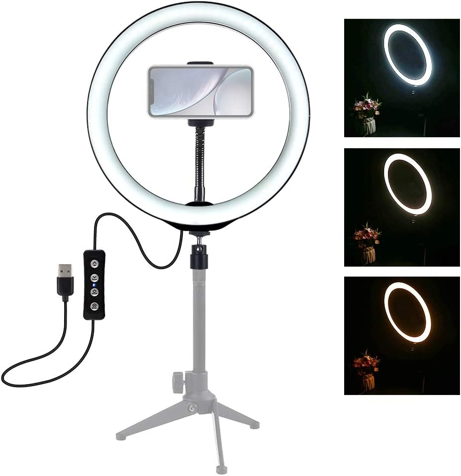 CAOMING 10 inch 26cm USB 3 Modes Dimmable LED Ring Vlogging Selfie Photography Video Lights with Cold Shoe Tripod Ball Head/& Phone Clamp Durable