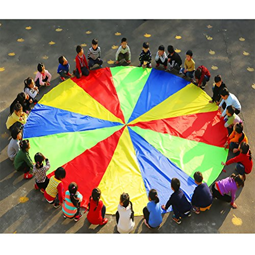NUOBESTY Play Parachute Multicolored Children Team Work Educational Toy for Outdoor Games Sports Activities Cooperative Games by NUOBESTY (Image #5)