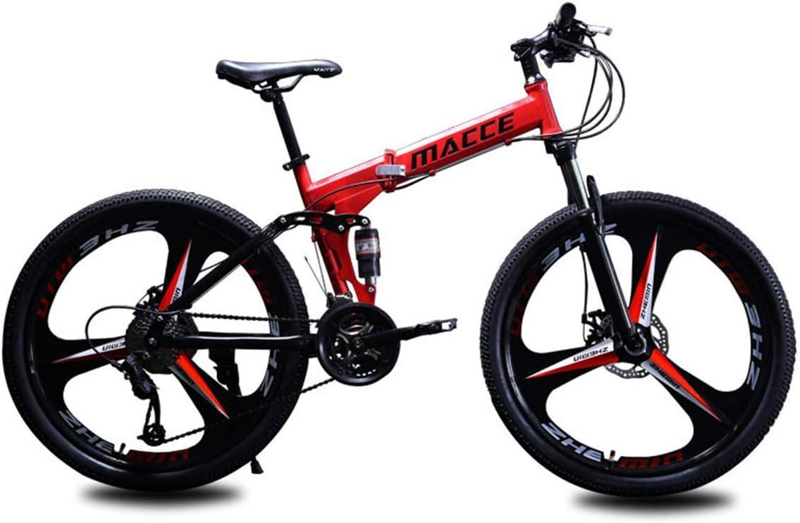 WZB Bicicleta de montaña Plegable, chasis de Acero de 24