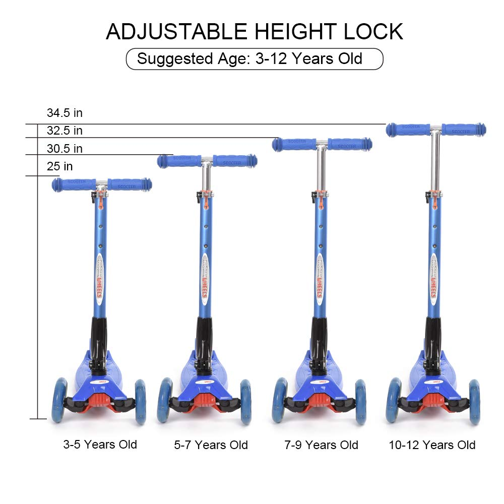 ChromeWheels Scooters for Kids, Deluxe Kick Scooter Foldable 4 Adjustable Height 150lb Weight Limit 3 Wheel, Lean to Steer LED Light Up Wheels, Best Gifts for Girls Boys Age 3-12 Year Old