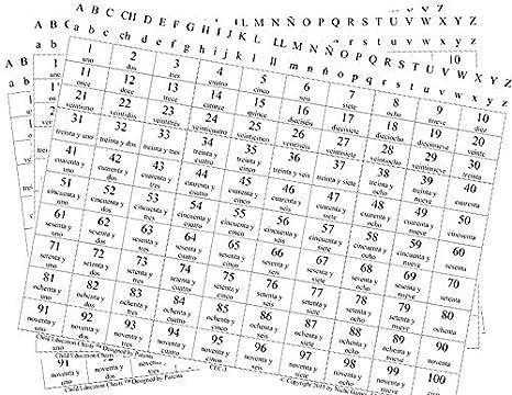 Amazon.com: English/Spanish Counting Chart 1-100 (with Alphabet ...