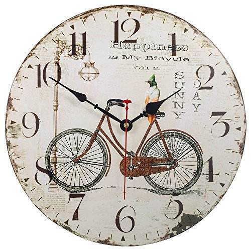 Silent Non-Ticking Decorative Wooden Wall Clock by SkyNature (12 in, Bicycle)