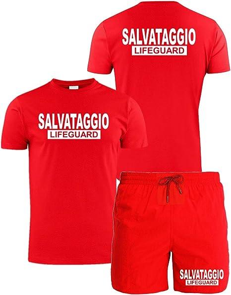WIXSOO Completo Bagnino Canotta Costume Fischietto Pack