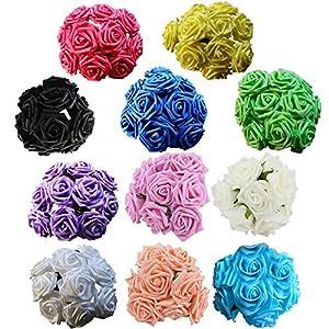 SUIE 10pcs Fake Artificial Foam Real Touch Rose Flowers Bouquets Rose Bridal Wedding Bouquet 11 Colors 72