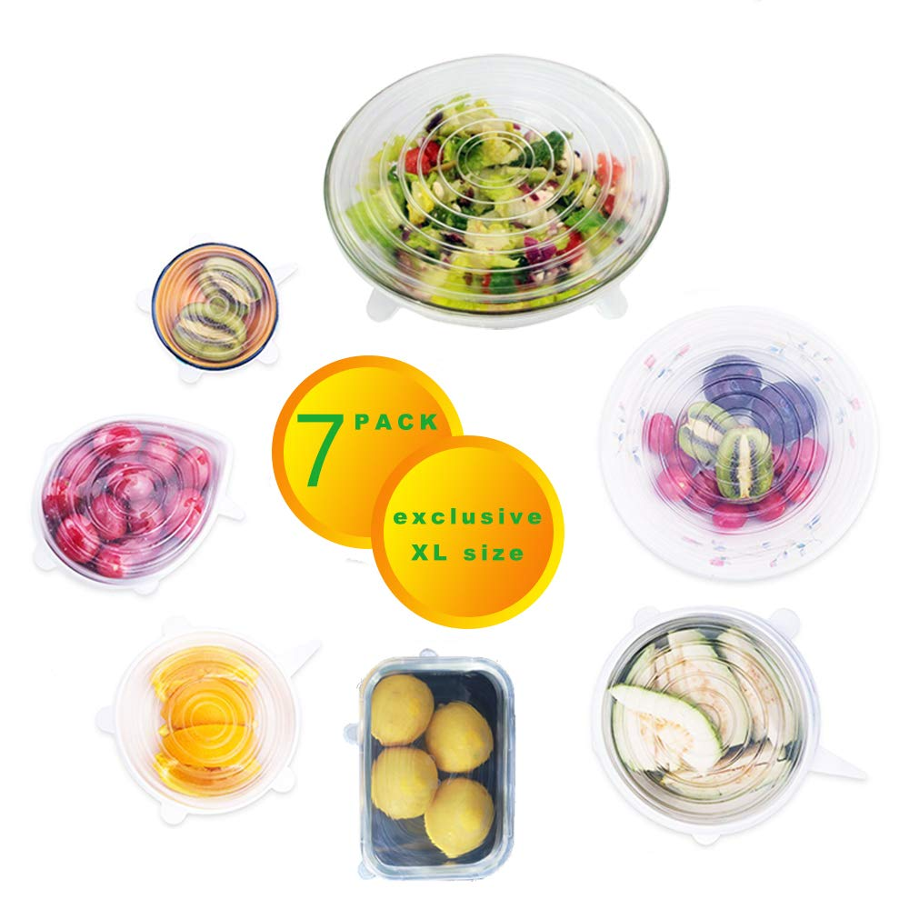 Paxamo Silicone Stretch Lids Set (7-Pack, Including Exclusive XL Size), Reusable Durable and Expandable Lids, Various Sizes Covers for Food, Bowls and Cups