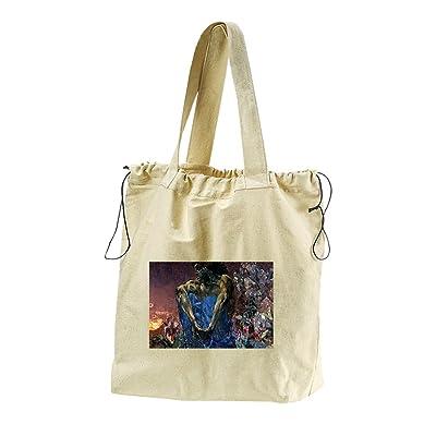 A Sitting Demon (Mikhail) Canvas Drawstring Beach Tote Bag
