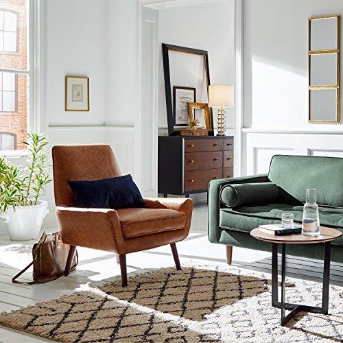 """Rivet Leather Low Arm Accent Chair, Cognac -Jamie Mid-Century, 31"""" W"""