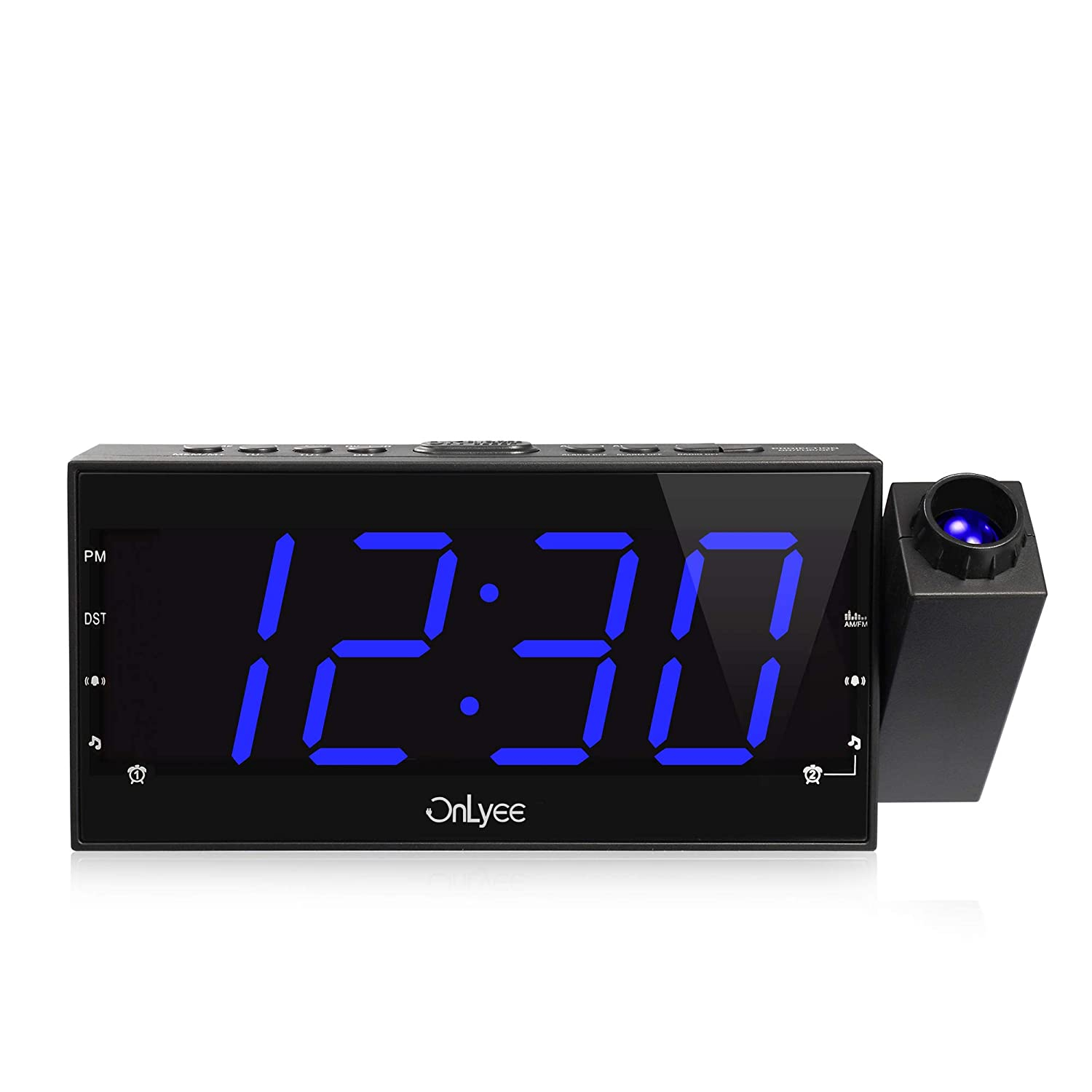 "OnLyee Projection Ceiling Wall Clock, AM FM Radio Alarm Clock, 7"" LED Digital Desk/Shelf Clock with Dimmer, USB Charging, AC Powered and Battery Backup for Bedroom, Kitchen, Kids"