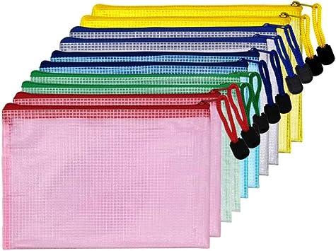 AUSTARK 10Pcs Zipper File Bags, Zipper Pouch, PVC Document Bag Zipper Folders Document Pouch Receipts Organizer for Office School Home Travel (B6 Size 7.6 x 5.3 Inches, Multicolor)