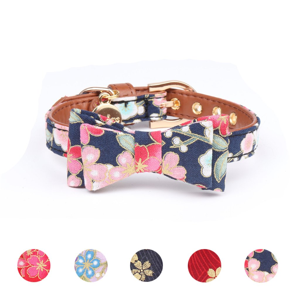 Leepets Small Dog Collar with Bow Tie Cute Leather Puppy Bow Collar for Girl Cat Collar for Kitten Adjustable Metal Buckle,(Small, Blue Floral)