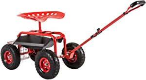 KINTNESS Garden Cart Seat Rolling Scooter Wagon with Extendable Steering Handle Swivel Seat & Utility Basket Red
