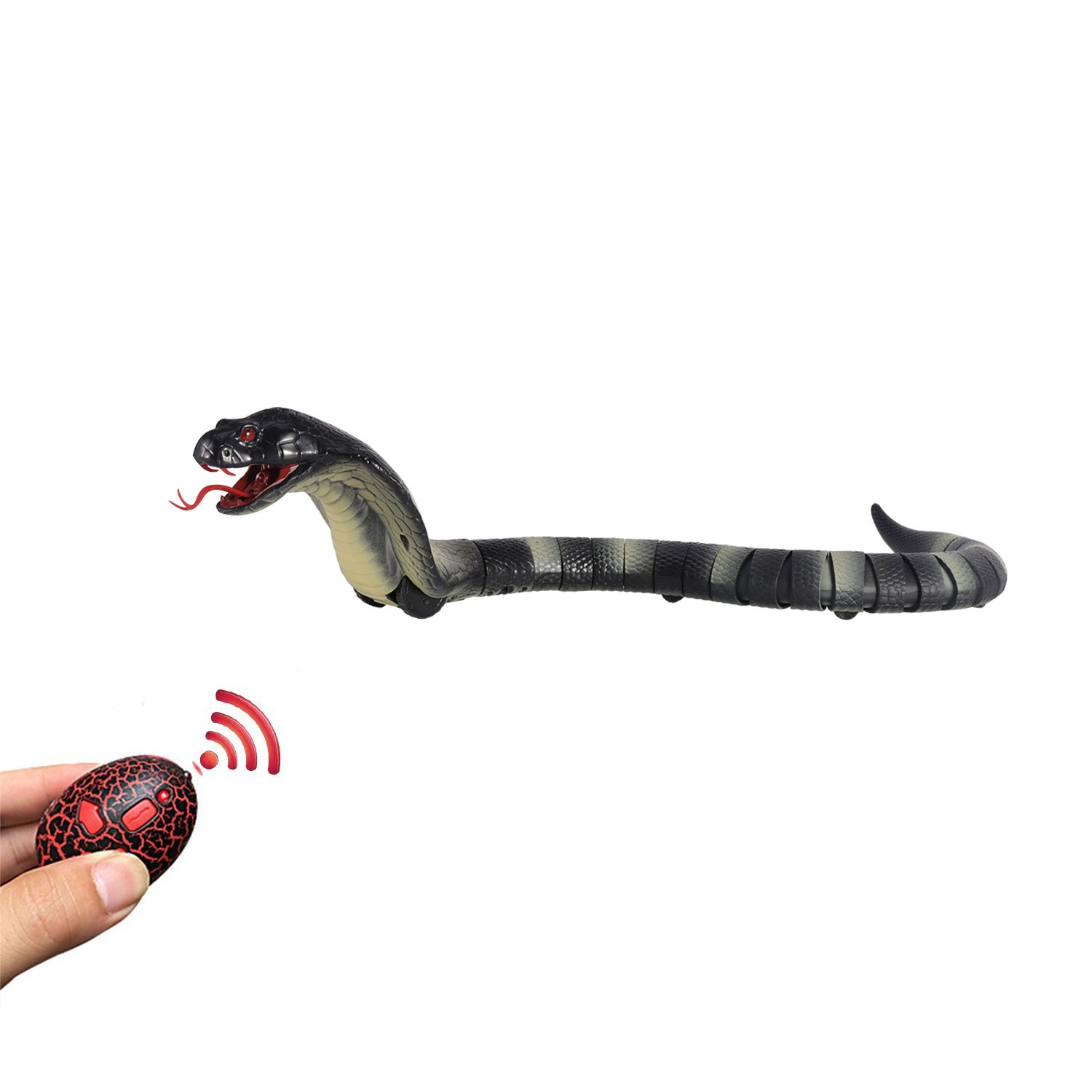 Rely2016 Remote Control Snake Rechargeable Simulation RC Snake Toy 17 Long Fake Cobra Animal Trick Terrifying Mischief Toy for Kids Children Blue