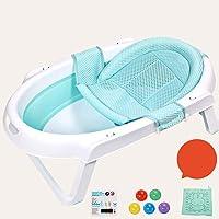 LIBWX Tina de baño para bebés, niño pequeño Plegable para niños, Flotante, Antideslizante, cojín de baño, Asiento Suave, Soporte de bañera para 0-6 Meses (Azul)