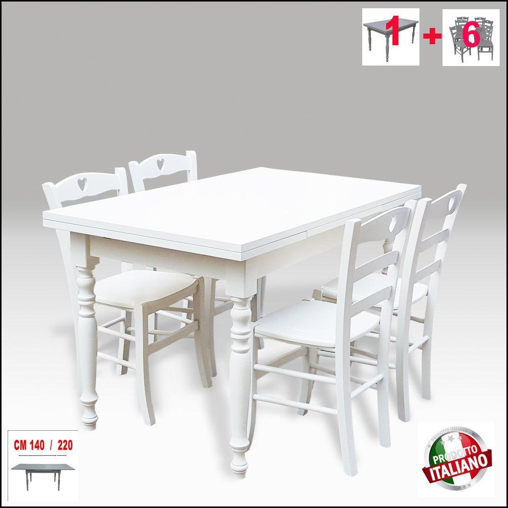 Tisch aus Holz, ausziehbar, gedrechselte Beine, Weiß Shabby Chic tavolo + 6 sedie Weißer Lack