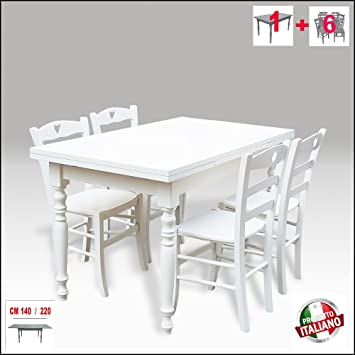 Tisch Aus Holz Ausziehbar Gedrechselte Beine Weiß Shabby Chic