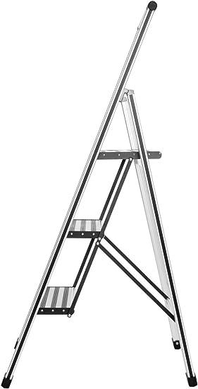 WENKO Escalera plegable en diseño de aluminio 2 peldaños, 3 marches, Aluminio, 44 x 127 x 5.5 cm, Plata mate: Amazon.es: Bricolaje y herramientas