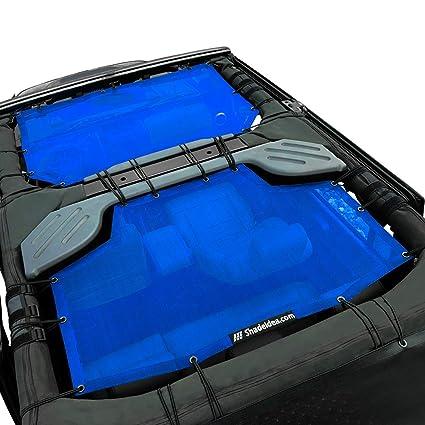Shadeidea Jeep Wrangler Sun Shade JK Unlimited 4 Door-Blue Mesh Screen  Sunshade JKU Top Cover UV Blocker with Grab Bag-One time Install 10 years