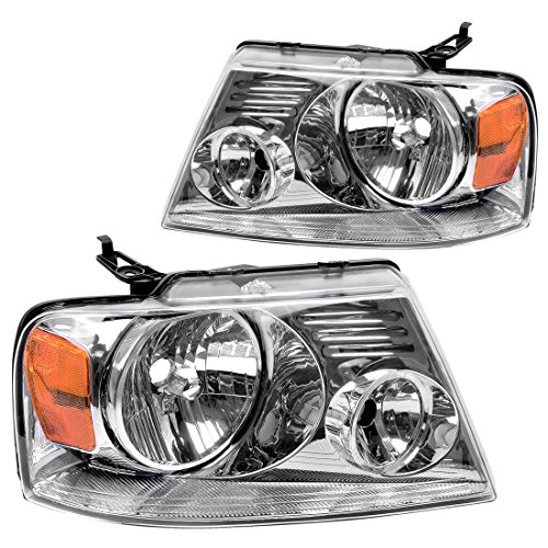 (For Ford F150 Pickup 2004-2008 Headlight Chrome Housing Amber Reflector Clear Lens,Passenger & Driver side ATHA0092)