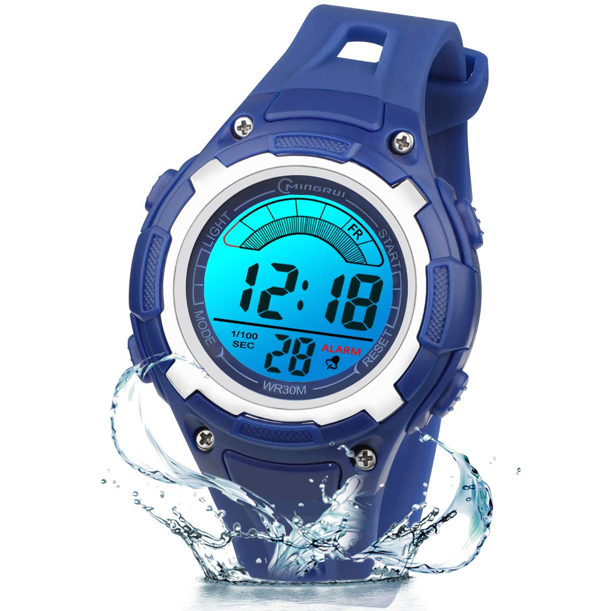 Kids Digital Watches for Boys Girls,7Colors Led Light Outdoor Sports Waterproof Multi Function Wristwatch with Alarm/Timer/Dual Time Zone,Dial Strap Detachable Fun Children's Watch (Dark Blue 59) by PINGHE