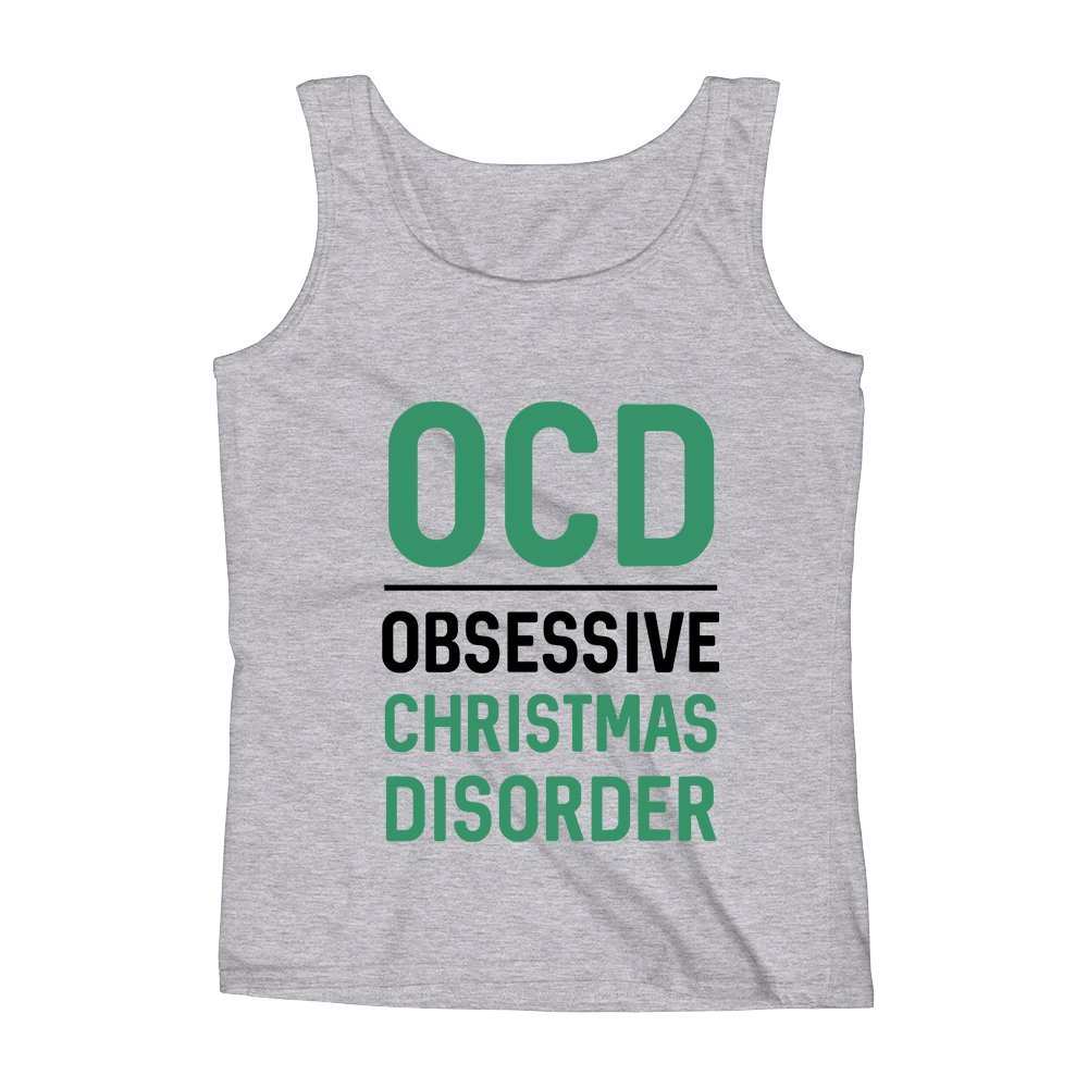 Mad Over Shirts OCD Obsessive Christmas Disorder Unisex Premium Tank Top