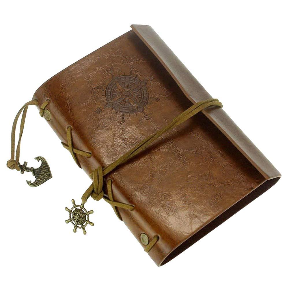 Conception vintage Th/ème durable de navigation portable d/écriture de couverture en cuir Journal Journal 90 pages Brown