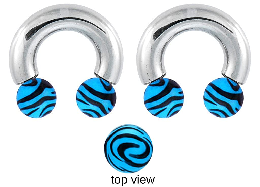 playful piercings Pair of Blue Zebra Animal Print Horseshoe Lip Belly Nipple Cartilage Tragus Septum Ear Ring Hoop 16g 14g 12g 10g 8g 6g 4g 2g