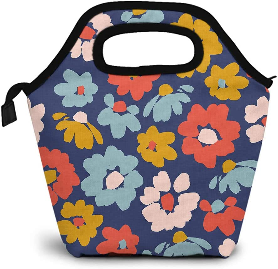 Britimes Small Lunch Bags For Women, Insulated Carrying Flower Lunch Bag Floral Other Users Flower Abstract Brush Simple For School Travel Outdoor Office Work Picnic