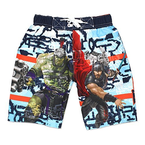 Marvel Avengers Superhero Boys Swim Trunks Swimwear (5-6, Blue) ()