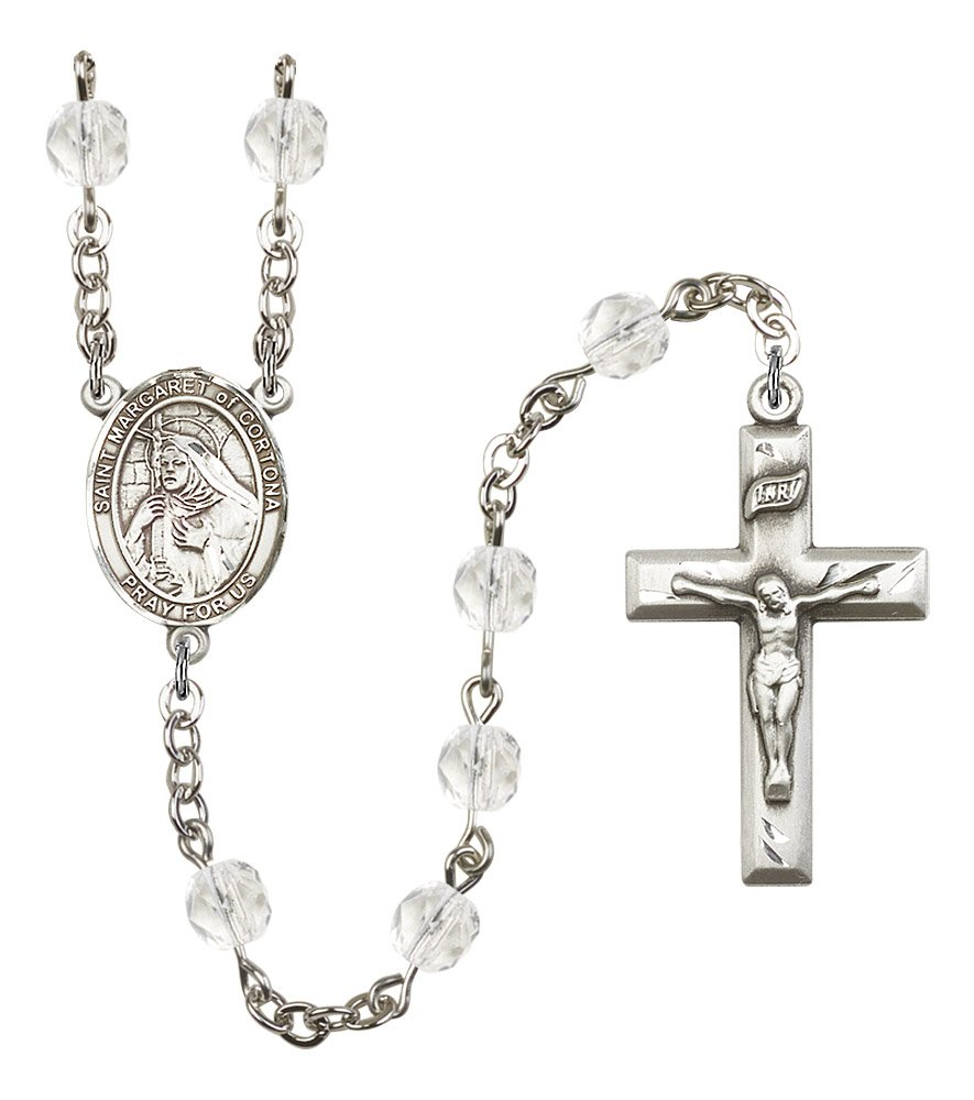 Silver Finish St. Margaret of Cortona Rosary with 6mm Crystal Color Fire Polished Beads, St. Margaret of Cortona Center, and 1 3/8 x 3/4 inch Crucifix, Gift Boxed