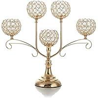 VINCIGANT Candelabros de Cristal Dorado de 5 Brazos