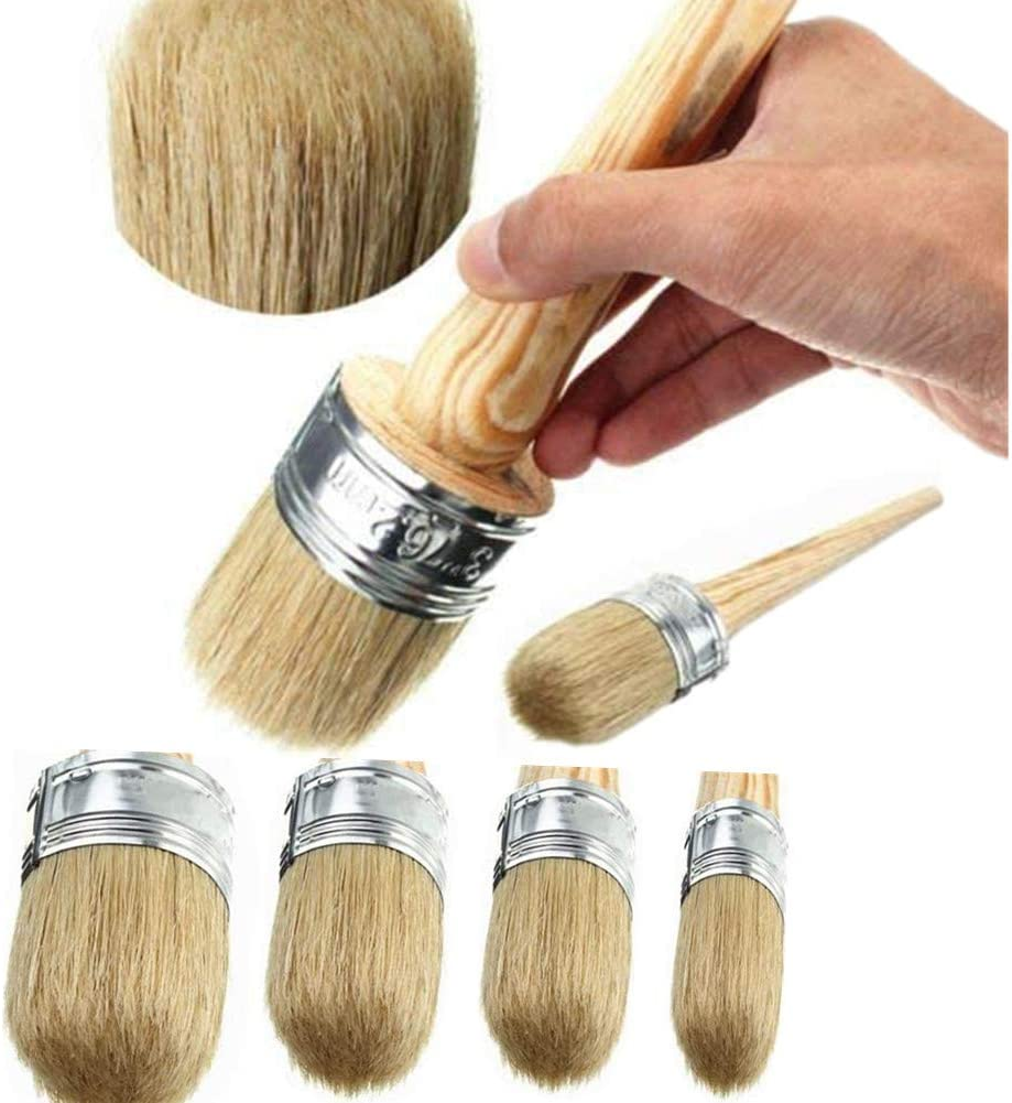 Chalk Paint Wax Brush Set –4 Pcs Natural Bristle Brushes Round Wax Brush for Painting or Waxing, Stencil Project, DIY Furniture, Home Décor, Card Making, DIY Art Crafts