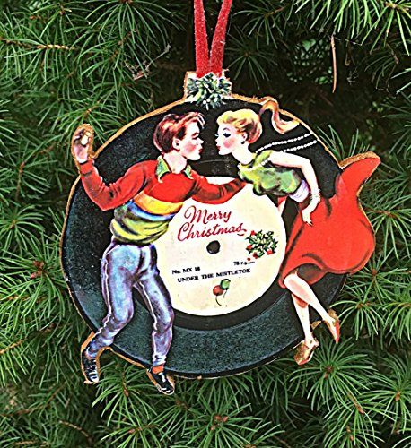 Personalized Handcrafted Wood (1960s Christmas Couple Ornament Handcrafted Wood Personalized, LP Record Pop Music Mistletoe, Wedding Favor Engagement Gift Husband Wife)