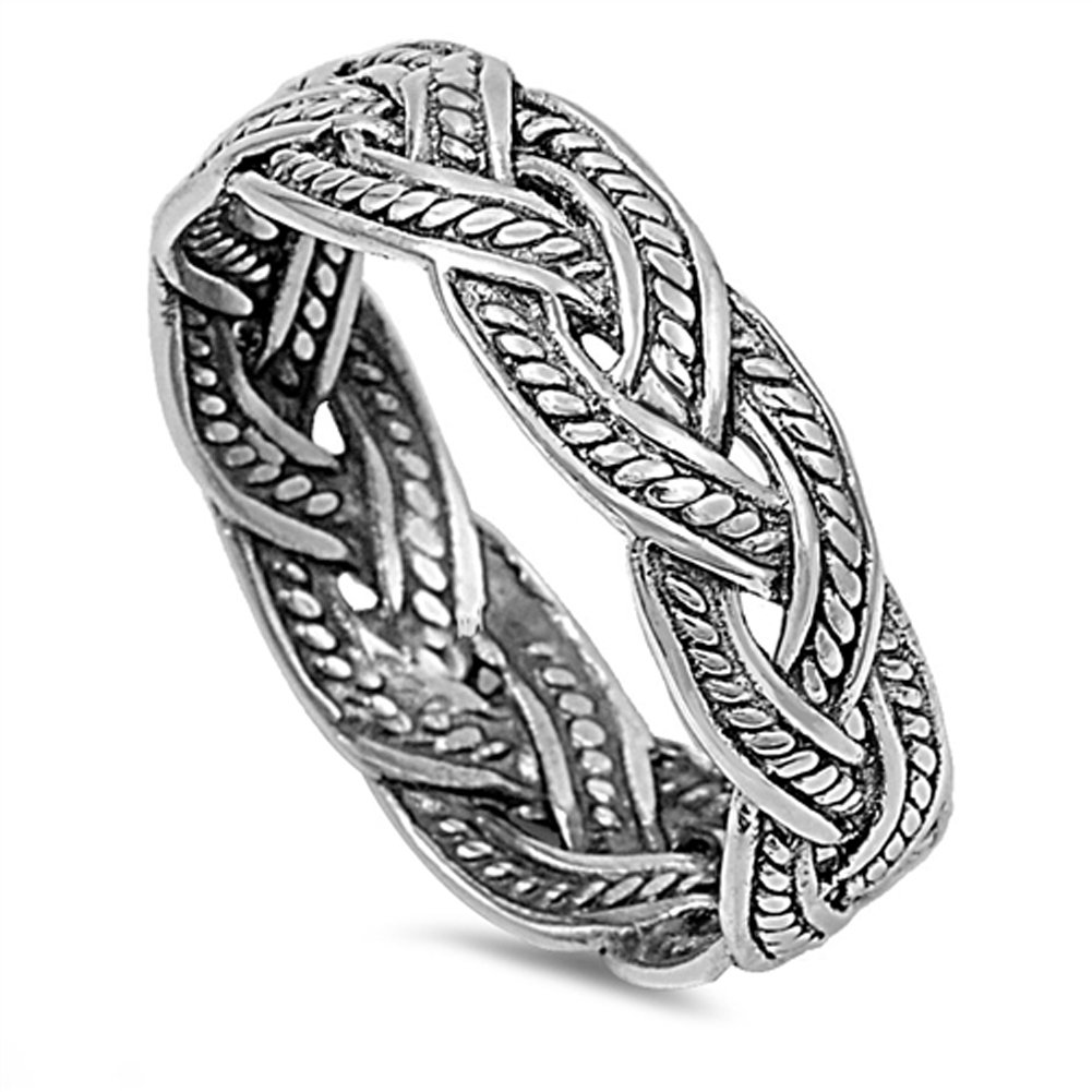 Bali Rope Weave Knot Wedding Ring .925 Sterling Silver Eternity Band Size 9