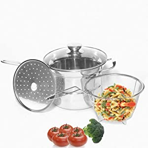 meleg otthon Classic Stainless 4-Pieces Pasta/Steamer Set Stainless Steel 2.5-qt. Stockpot with Glass Cover,Multi-Pots Include Sauce pot,Steamer Insert,Pasta Boil Basket Dishwasher Safe