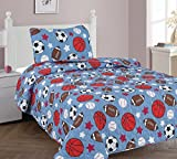 Elegant Home Blue White Brown Orange white Sports Football Basketball Baseball Soccer Design 2 Piece Coverlet Bedspread Quilt for Kids Teens Boys Twin Size # Game Day 2 (Twin)