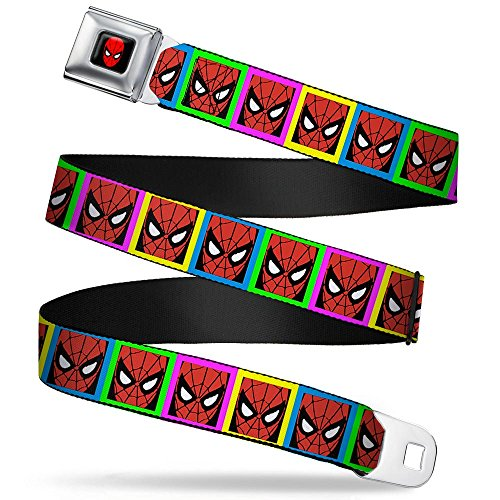 """Buckle-Down Seatbelt Belt - Spider-Man Face Multi Color Blocks - 1.5"""" Wide - 24-38 Inches in Length"""