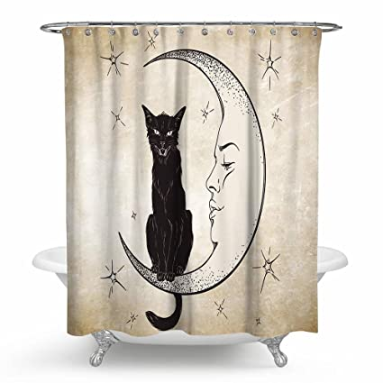 Gentle Fabric Kitten Shower Curtain WitchS Summon Decorate Bathroom Waterproof 60X72 Inch