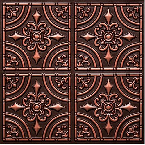 # 205 - Antique Copper 2' x 2' PVC Faux Tin Decorative Ceiling Tile Panels (Glue Up Only) ()