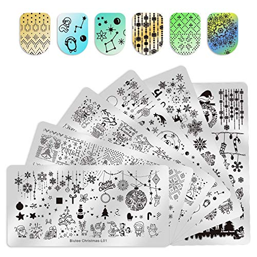 Biutee Nail Stamping Plates 6pcs Templates with Double-head stamper Nail Art Plates set