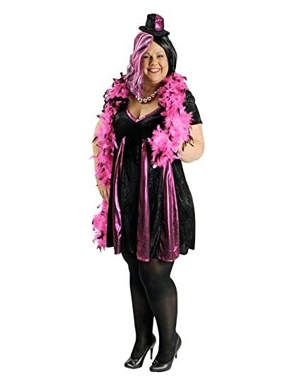 heisses Show Girl para mujer Disfraz Plus Size Negro Rosa: Amazon ...