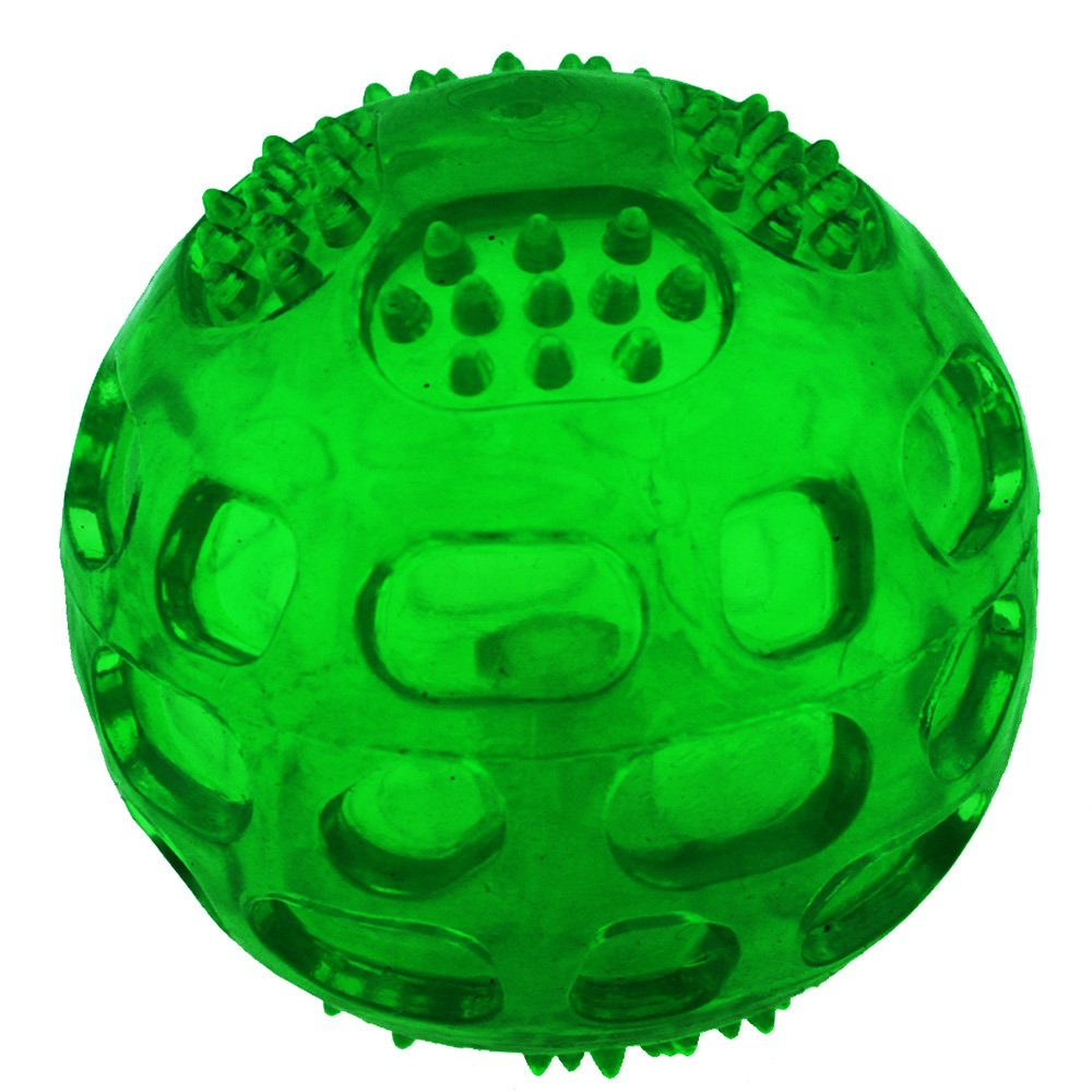 Crystal Green Aduck Pet Puppy Dog Squeaky Fetch Ball Toys [Meteorites Bouncy Series] Bite Resistant Squeeze Chew Toy for Aggressive Chewers [Non-Toxic Soft Rubber], Cute Crystal Green Ball Design 3.15 Inches