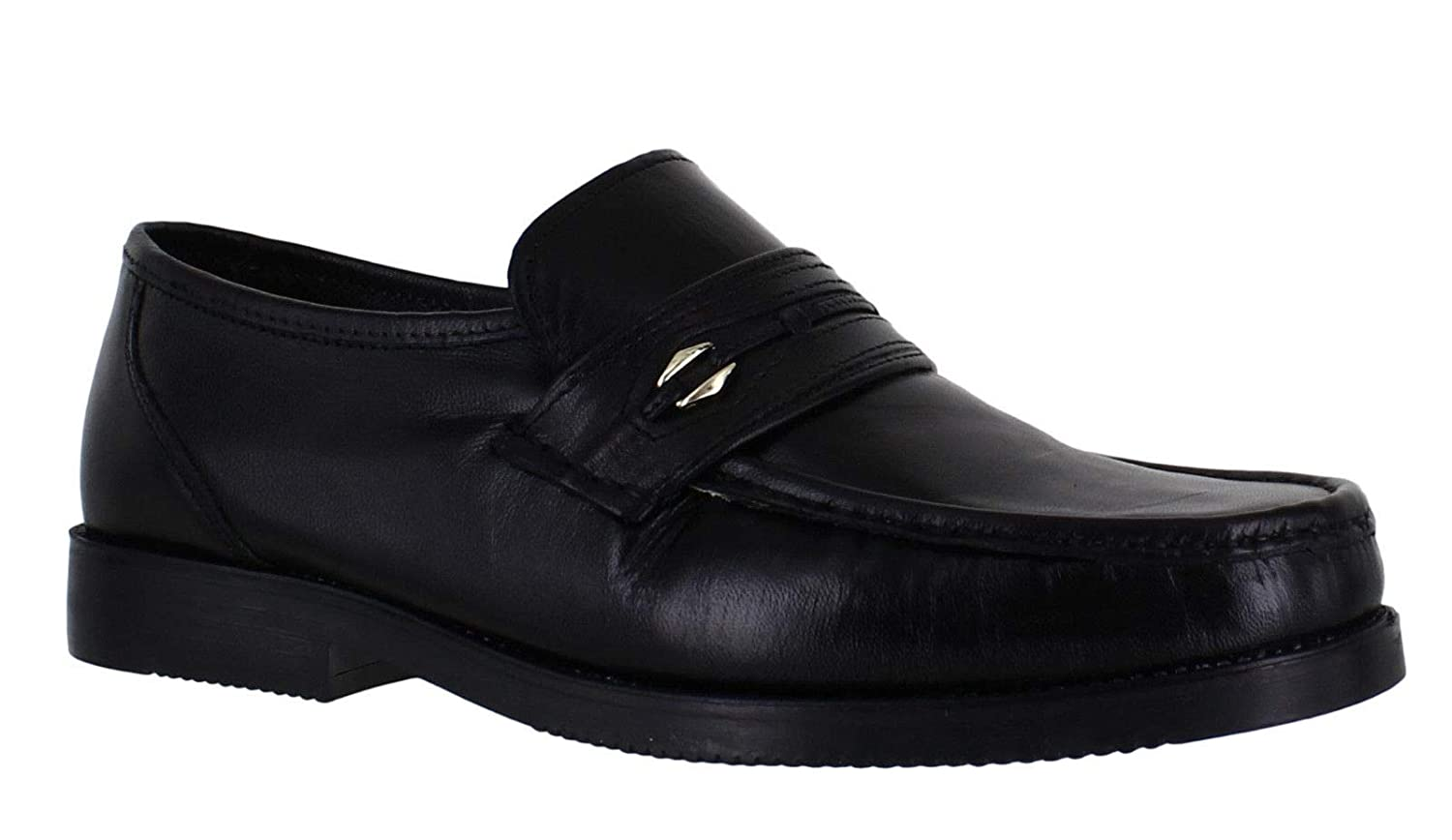 Luca Mancini Mens Soft Leather Wide Fit Moccasin Touch Fastening Formal Shoes Size 6-12