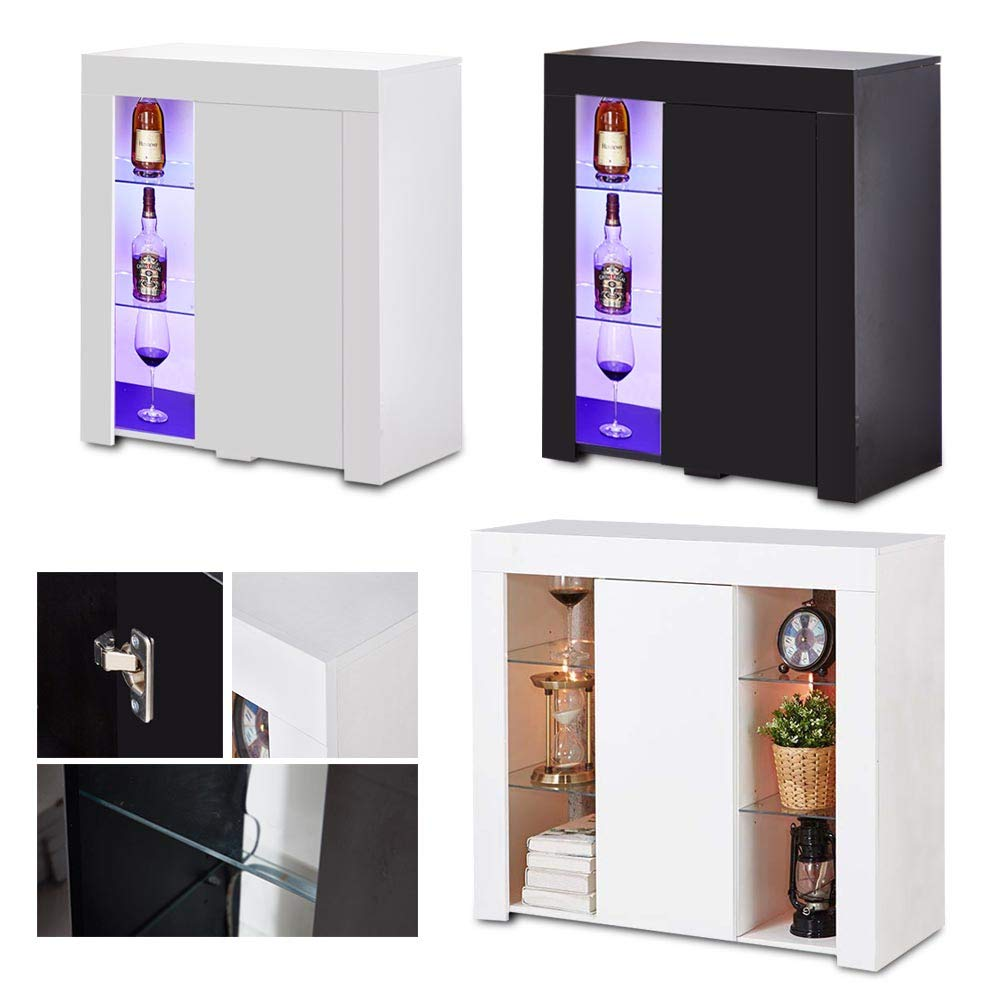 Bilateral White Wonderlife High Gloss Sideboard Storage Cabinet Tall Display Cabinet With Led Lighting For Living Room Dining Room Cabinets