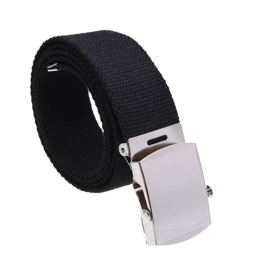 SODIAL(R) Cintura fibbia uomo donna unisex in tessuto tela nera 038228