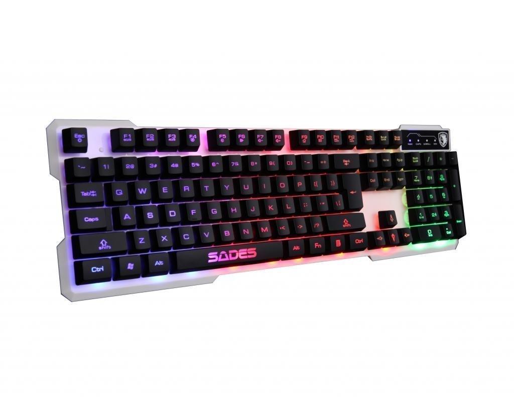 Sades K7 Gaming Keyboards Teclado para Juegos USB 7 Colores de retroiluminaciš®n conmutable, 104 Claves (Blanco): Amazon.es: Electrónica